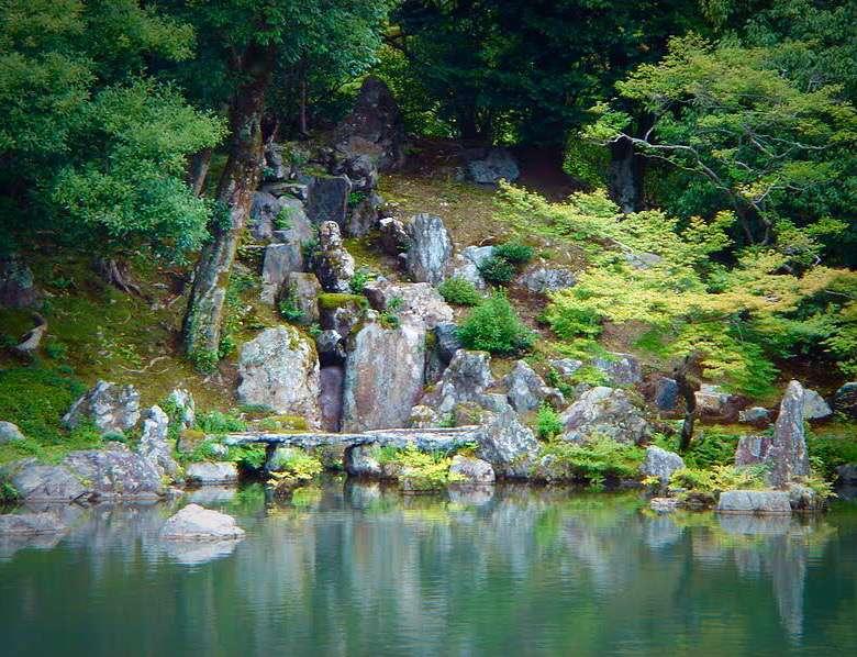 鯉魚石(りぎょせき) 龍門瀑(りゅうもんばく)を登る鯉が、まさに龍に変わるところを表現した石。「登龍門」として有名。 金閣寺鹿苑寺にもあり