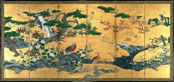 狩野元信 「四季 花鳥図」